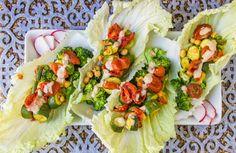 WIAW + peppadew bok choy hand wraps with lemon-tahini dressing Lemon Tahini Dressing, Hand Wrap, Fresh Rolls, Salads, Wraps, Ethnic Recipes, Food, Essen, Meals