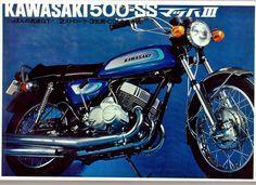 Motorcycle Posters, Retro Motorcycle, Vintage Motocross, Kawasaki 500, Kawasaki Motorcycles, Triumph Motorcycles, Vintage Bikes, Vintage Motorcycles, Scrambler