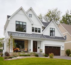 White siding mixed with board and batten  Interior Design Ideas