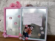 "DIY magnetic boards- Did this craft for my daughter's 13th b-day party.  HUGE hit! They turned out awsome.  We glued paper on the metal.  Also, put the glass back in frame and magnets I bought were strong enough to go thru it.  So now magnet board or fancy ""whiteboard"" for expo markers!!! - Lori"