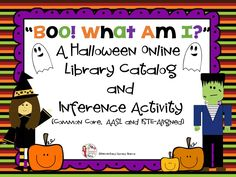 This is a fun Halloween activity aligned to Common Core, AASL 21st Century Learning and ISTE/NETS Technology Standards. Included are two pages that you can copy back to back. There are 10 Halloween riddles/clues. Students must use their inference skills to determine what the answer is. After they write the answer down, they use the online library catalog to perform a keyword or title search. They then write down the title and call number of a book they found. $