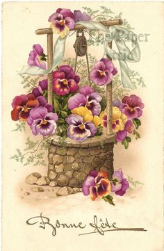 Pansy Flowers in Wishing Well Antique Vintage French Chromo Postcard Art Floral, Floral Vintage, Vintage Flowers, Vintage Prints, Vintage Greeting Cards, Vintage Ephemera, Vintage Paper, Vintage Postcards, Vintage Pictures