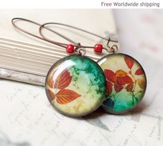 Autumn jewelry  Red leaf earrings  November earrings by BeautySpot on Etsy.