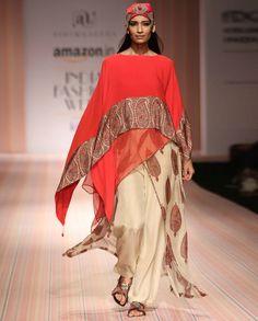 Kaftan Style Printed Red Kurta Set- ashima leena