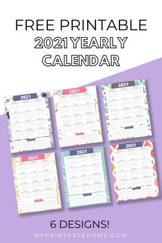 These Free Printable 2021 Yearly Calendars not only give you an overview of the year but they also have a place at the bottom where you can make notes. Printable Calendar | Printable Planner | 2021 Calendar | 2021 Planner | Printable Binder Yearly Calendar | Yearly Planner