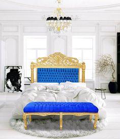 [Fr] Découvrez nos banquettes pour bout de lit. [En] Discover our flat benches for bed.  #deco #decor #homedecor #homedeco #Bed #Lit #Meuble #Furniture #Baroque #Blue #Bleu #Gold #Or #Dore #French #interior #interieur #Bench #Banquette #Chandelier #Lustre #Bronze
