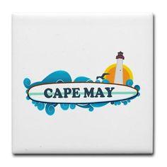Cape May NJ - Surf Design Tile Coaster on CafePress.com