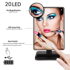 2017 Wholesale 20 LED Make Up Vanity Lighted Mirror with Removable 10x Magnifying Mirror, Light Vanity Mirror