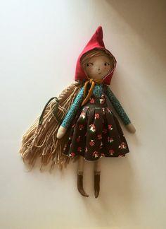 Cloth doll pixie red hood ooak ragdoll