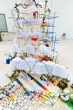 Sarah Sze - Art & Installation  - Mudam Luxembourg - 'Fixed Points Finding a Home', 2012, détail.