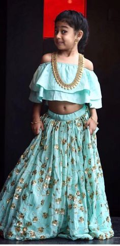 Indowestern outfit for little angels Kids Indian Wear, Kids Ethnic Wear, Lehanga For Kids, Kids Lehanga Design, Kids Party Wear, Kids Wear, Kids Lehenga, Kids Gown, Kids Frocks