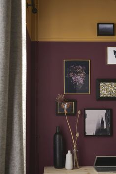 I like the color harmony with the paints. Using two colors in this manner can provide two types of contrast or provide a focal point with something near the wall. Burgundy Room, Burgundy Walls, Burgundy Living Room, Living Room Red, Dark Purple Walls, Plum Room, Red Burgundy, Dark Red, Maroon Room