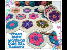 """Como unir motivo hexagonal """"Flor Africana """"de crochê #3 - YouTube"""
