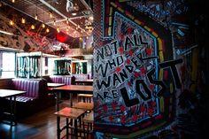 Boozy Cow, Aberdeen. Not all who wander are lost. Graffiti wall art quotes. Burger Joint Restaurant Interior Design by Tibbatts Abel. www.tibbattsabel.com