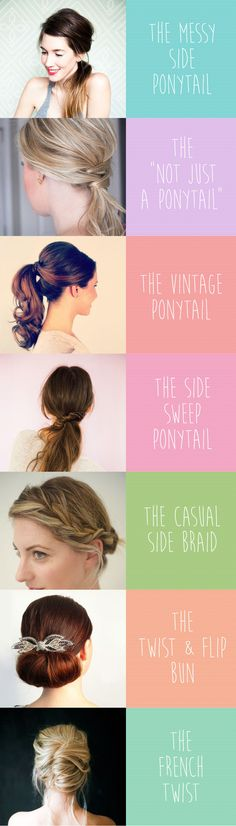"Ditch the perma-ponytail and try one of these quick & easy hairstyles. We've all heard of the dreaded ""Mom Jeans"", but we're here to shield you from ""Mom Hair."" So twist, tuck, and braid your way to some fast, easy and pretty new hairstyles. #NoMoreMomHair"