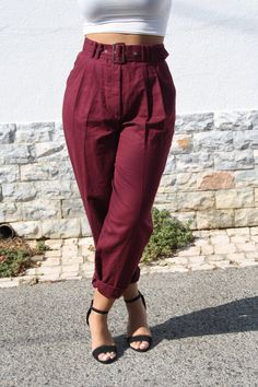 90s Burgundy Pants / Vintage High Waisted by TicketToRideVintage, €38.00