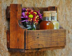 Pallet Shelf - Spice Rack - Mail Organizer - Rustic - Country - Home Decor - Reclaimed - Pick Your Color - Made to Order