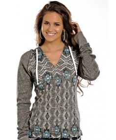 Rock & Roll Cowgirl Juniors Grey & Blue Aztec Print Pullover Hoodie