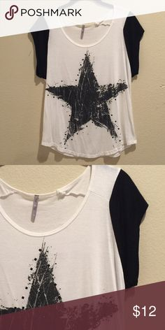 Star Print Cap Sleeve Top Super cute, white and black top with bold star and some stud detail. Worn/ washed once. Very good condition! Heart Hips Tops Tees - Short Sleeve