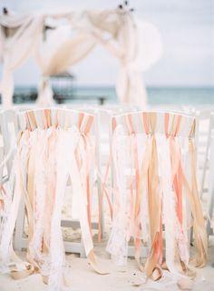 coral beach wedding chair decor