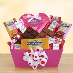 ... chocolate hearts and a Ghirardelli dark chocolate and raspberry bar