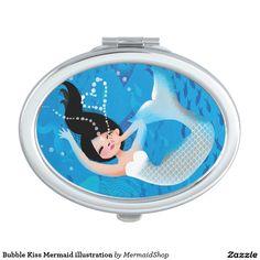 Bubble Kiss Mermaid illustration Vanity Mirror