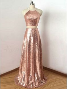 Two Piece Rose Gold Sequin Long Prom Dress,Sexy Halter Neckline Bridesmaid Dresses,Long Bridesmaid Dresses 2018 Bridesmaid Dresses 2018, Sequin Prom Dresses, Prom Dresses Two Piece, Open Back Prom Dresses, A Line Prom Dresses, Prom Dresses Online, Cheap Prom Dresses, Rose Gold Dresses, Dress Long