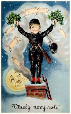 New Year Postcard 1935 Chimney Sweep Pigs in Smoke Man in The Moon Vintage Happy New Year, Happy New Year Cards, New Year Wishes, Vintage Halloween Cards, Vintage Christmas Cards, Vintage Greeting Cards, Vintage Postcards, Happy Pig, Good Luck Symbols