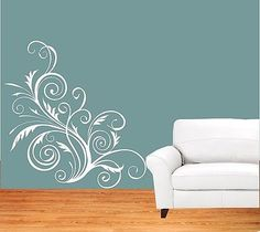 Swirly Floral Decorative Embellishment Wall Stickers Wall Art Decal Transfers