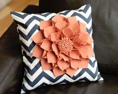 "16x16"" Navy Chevron Throw Pillow with Large Coral Wool Felt Dahlia"