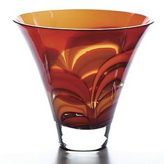 """Waterford Crystal Red and Amber 8"""" Bowl"""