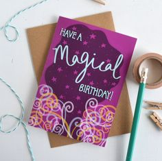 New to HannahStevensShop on Etsy: Magic Birthday Card Purple Wizard Birthday Card for Kids and Adults Hand Lettered Typography Nerd Greetings Card Childrens Birthday card (2.50 GBP)