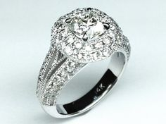 Cushion Diamond Vintage Halo Double Band Engagment Ring  - ES990MOD