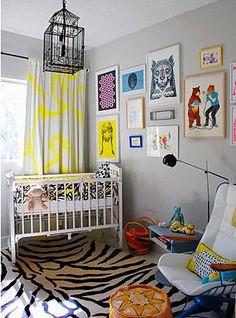 Bold nursery. Yellow, black & white nursery. Adult style wall art