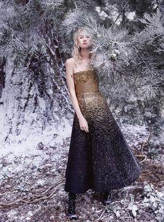 The Enchanted Forest: Nastya Sten by Agata Pospieszynska  for Harper's Bazaar UK January 2017 - Schiaparelli Fall 2016 Haute Couture