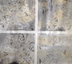 Large Abstract Clocks Original Painting  Wall by BreFrandsenStudio, $175.00