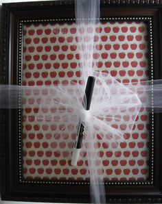 Insert cute scrapbooking paper into pretty picture frame, along with dry erase marker wrapped with cute ribbon. Makes for great teacher appreciation gift or any gift! You can write a cute message on it yourself too.