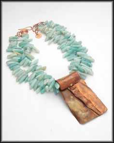PRESIDIO - Handforged Flamed Foldformed Copper Pendant - 2 Strand Amazonite Necklace - Sandra Weber