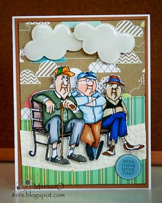 Art Impressions Rubber Stamps: Ai People: Old Guys Club Set (Sku#4474)  ... handmade card.