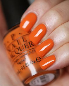OPI Coca-Cola Icons of Happiness Swatches. Color shown: Orange you stylish! Opi Nail Colors, Pretty Nail Colors, Spring Nail Colors, Spring Nails, Summer Nails, Pretty Nails, Summer Nail Polish, Best Nail Polish, Opi Nails