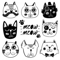 Cat facial expression collection Free Vector