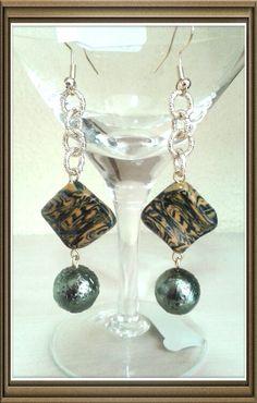 Orecchini in fimo e perle di vetro