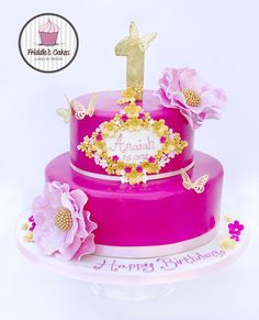 Pink and black flower birthday cake Recipes to Cook Pinterest