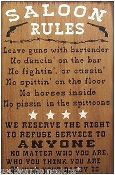 Saloon Rules Western Primitive Country Distressed Wood Sign Home Decor