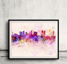 Rotterdam skyline in watercolor background 8x10 in to door SPPRINTS