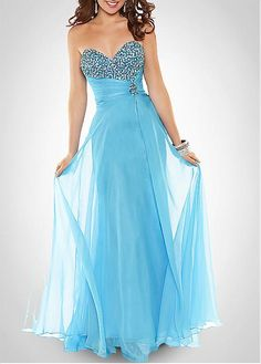 Perfect Silk-like Chiffon Sheath Beaded Sweetheart Neckline Full Length Prom Gown / Homecoming Dress
