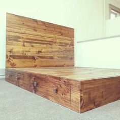 Rustic / Industrial Bed Frame with Headboard by CustomTimberHF, $1500.00