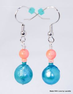 ~ 17.00 ~ Aqua dyed fresh water pearls accented with a small coral bead and tiny glass seed beads on silver plated hypo allergenic ear wire earrings.  https://www.etsy.com/shop/LoveByLaurette https://www.facebook.com/MadeWithLoveByLaurette www.amazon.com/handmade/MadeWithLoveByLaurette