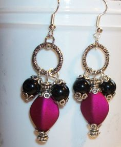 Burgundy and Black Eternity Earrings by Hopes And Dreams Studio $9.50