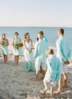 Evan O'Connell & Brian Scall • Light blue and pastels for the wedding party | Island Weddings